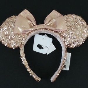 Disney Parks Rose Gold Sequin Minnie Mouse Ears OS